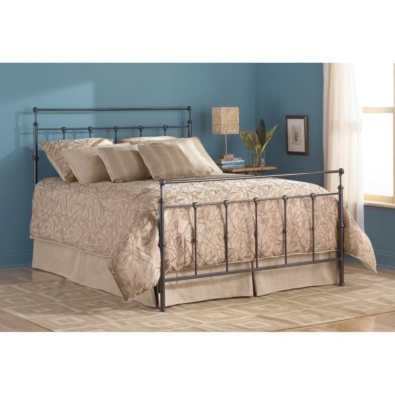 Fashion Bed Group Winslow Complete Bed with Metal Duo Panels and Aluminum Castings - Mahogany Gold Finish - Queen