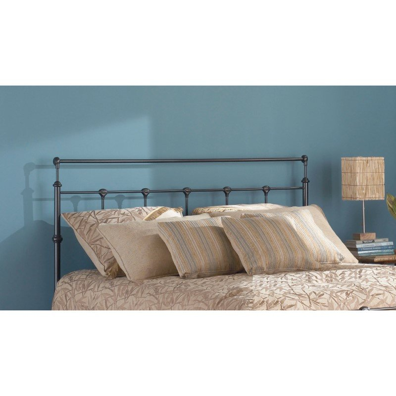 Fashion Bed Group Winslow Metal Headboard with Rounded Posts and Aluminum Castings - Mahogany Gold Finish - California King
