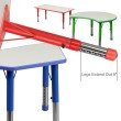 Flash Furniture 21.875''W x 26.625''L Height Adjustable Rectangular Blue Plastic Activity Table with Grey Top