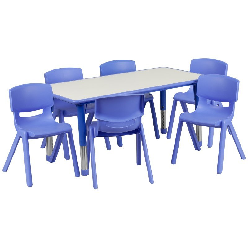 Flash Furniture 23.625''W x 47.25''L Adjustable Rectangular Blue Plastic Activity Table Set with 6 School Stack Chairs