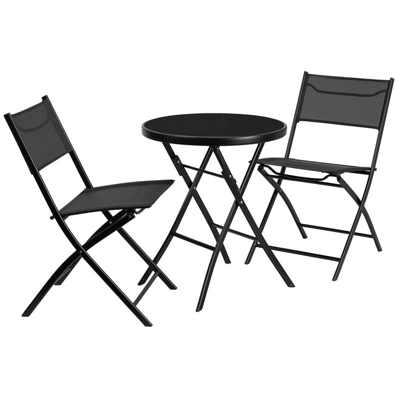 "Flash Furniture 23.75"" Round Tempered Glass Metal Outdoor Table with 2 Textilene Fabric Folding Chairs (TLH-137-RD-GG)"