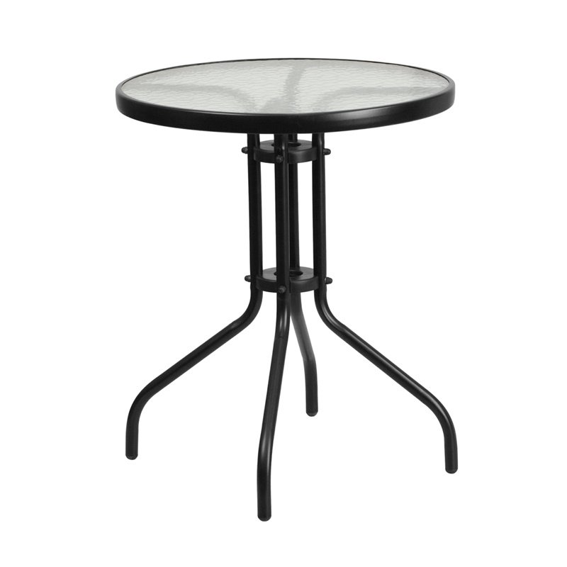 """Flash Furniture 23.75"""" Round Tempered Glass Metal Table (TLH-070-1-GG)"""