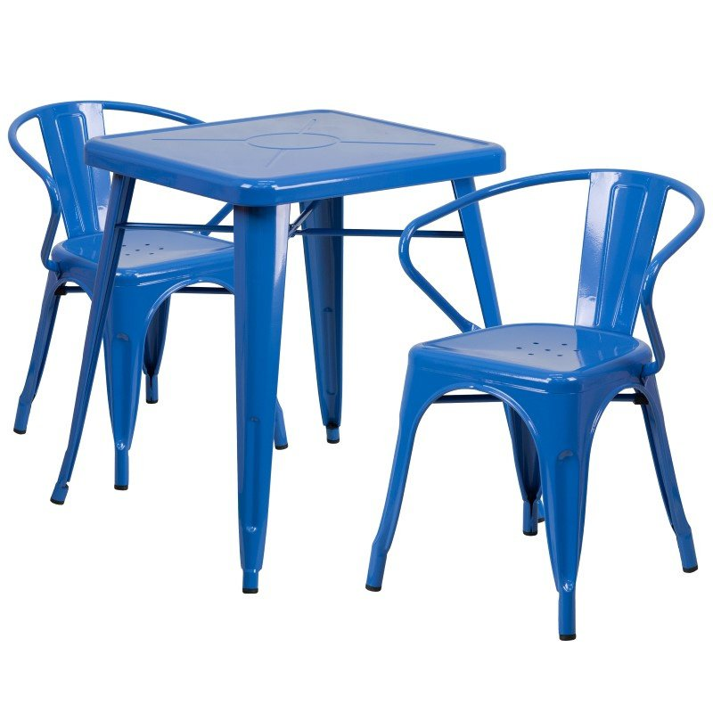 Flash Furniture 23.75'' Square Blue Metal Indoor-Outdoor Table Set with 2 Arm Chairs