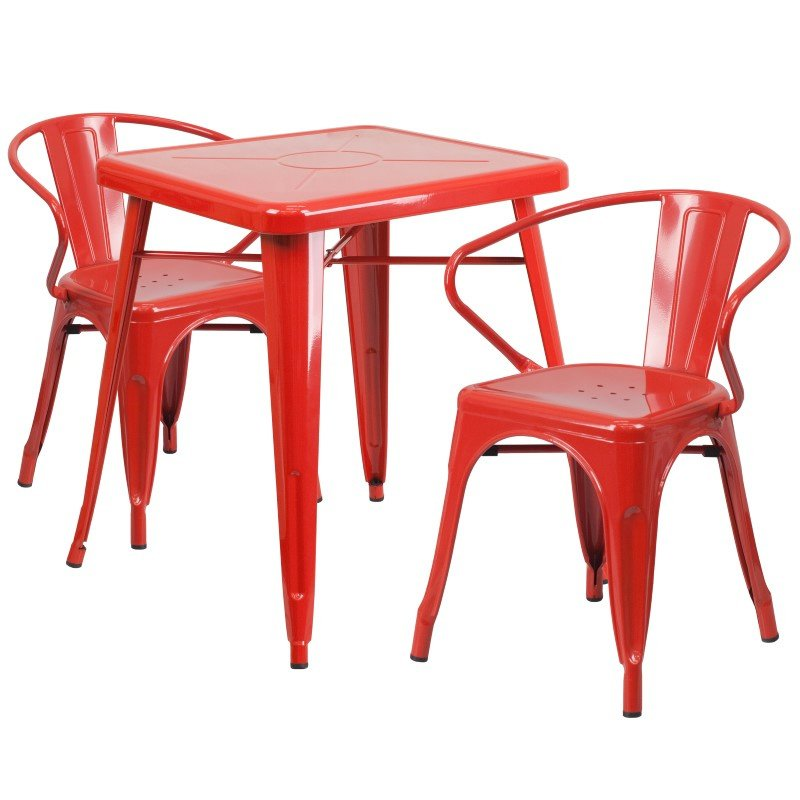 Flash Furniture 23.75'' Square Red Metal Indoor-Outdoor Table Set with 2 Arm Chairs