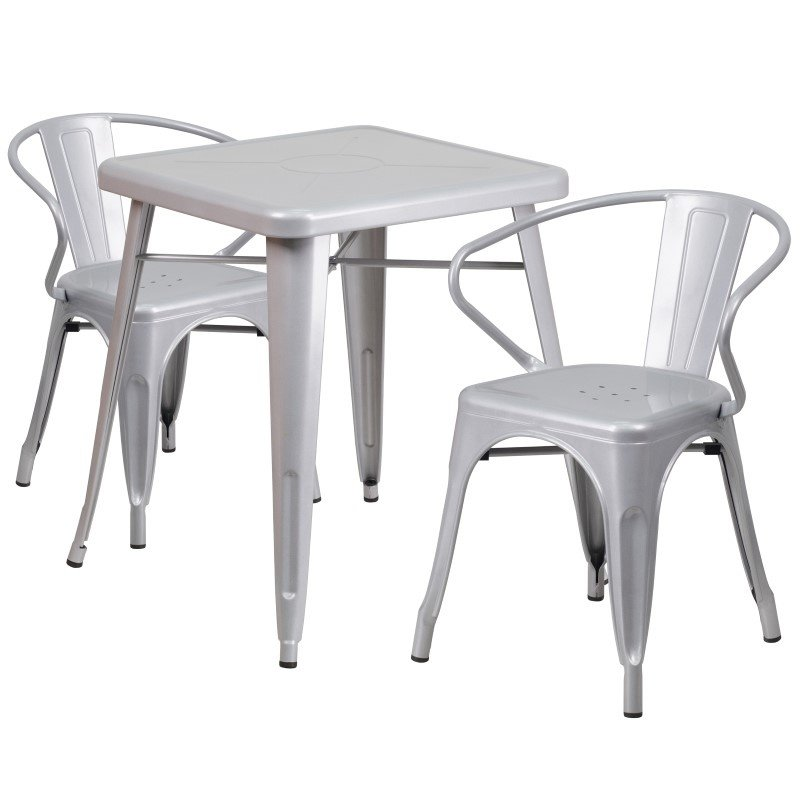 Flash Furniture 23.75'' Square Silver Metal Indoor-Outdoor Table Set with 2 Arm Chairs