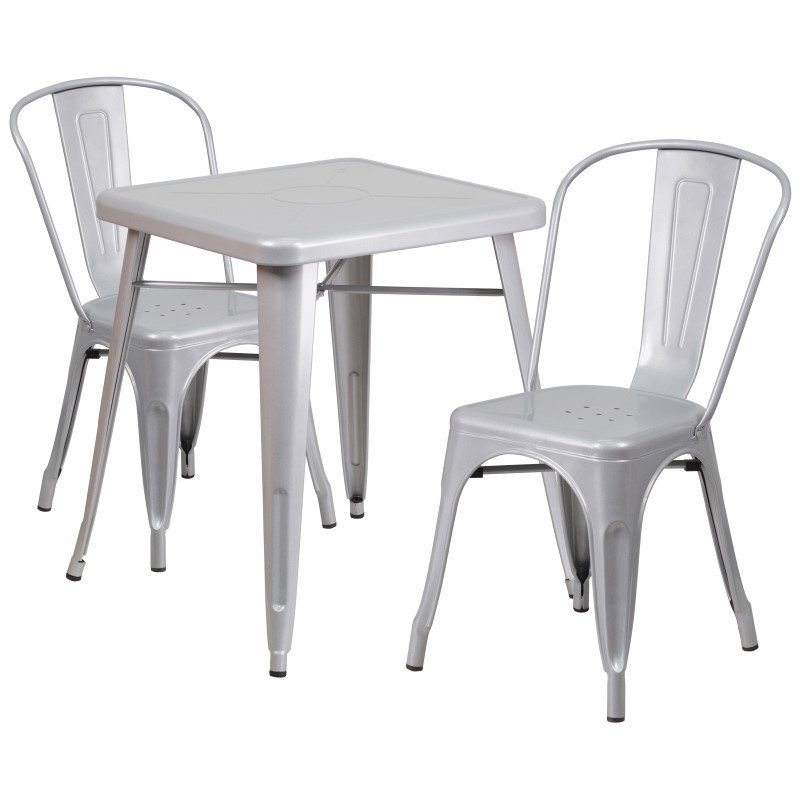 Flash Furniture 23.75'' Square Silver Metal Indoor-Outdoor Table Set with 2 Stack Chairs