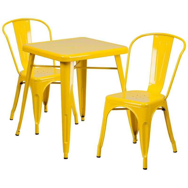 Flash Furniture 23.75'' Square Yellow Metal Indoor-Outdoor Table Set with 2 Stack Chairs
