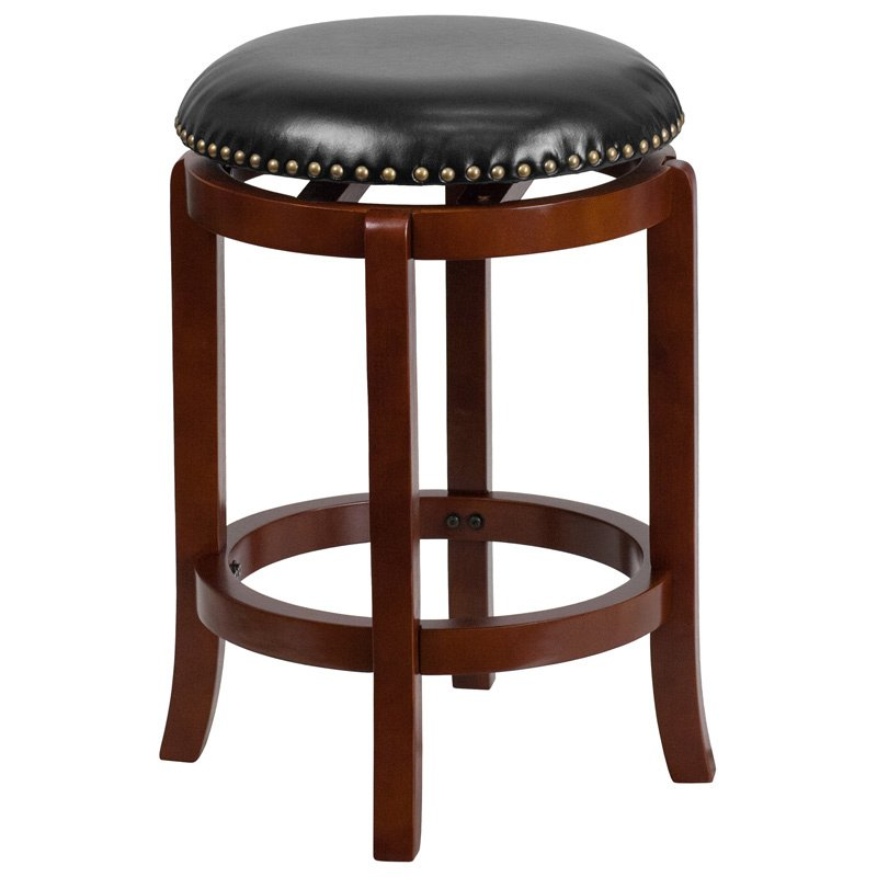 """Flash Furniture 24"""" Backless Light Cherry Wood Counter Height Stool with Black Leather Swivel Seat"""