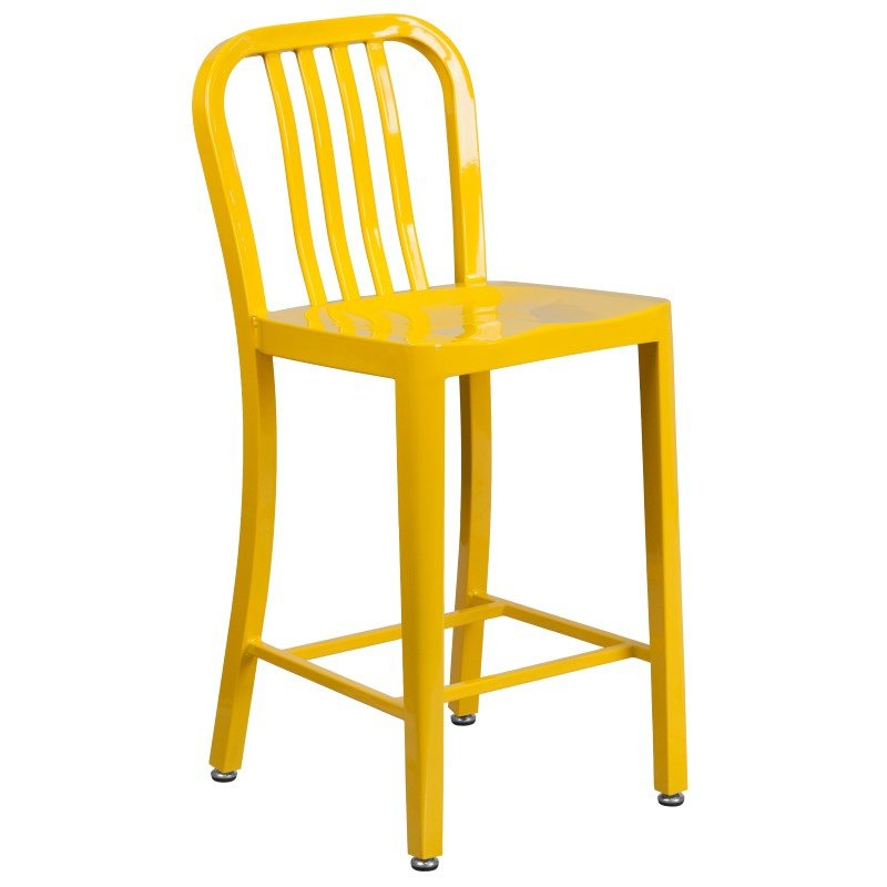 """Flash Furniture 24"""" High Yellow Metal Indoor-Outdoor Counter Height Stool with Vertical Slat Back"""