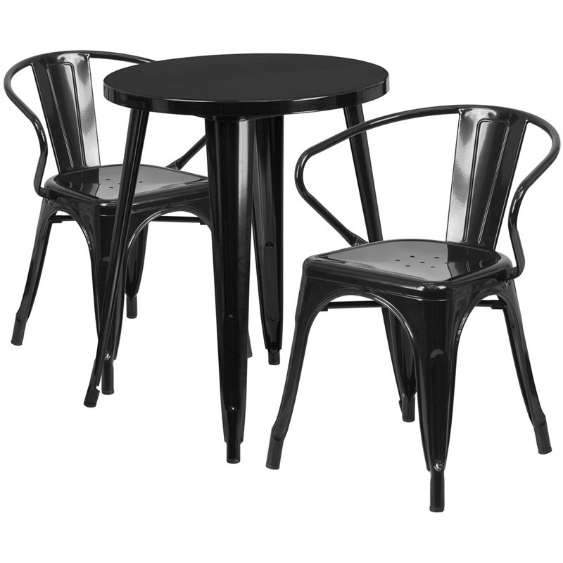 """Flash Furniture 24"""" Round Black Metal Indoor-Outdoor Table Set with 2 Arm Chairs (CH-51080TH-2-18ARM-BK-GG)"""