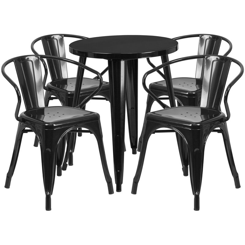 """Flash Furniture 24"""" Round Black Metal Indoor-Outdoor Table Set with 4 Arm Chairs (CH-51080TH-4-18ARM-BK-GG)"""