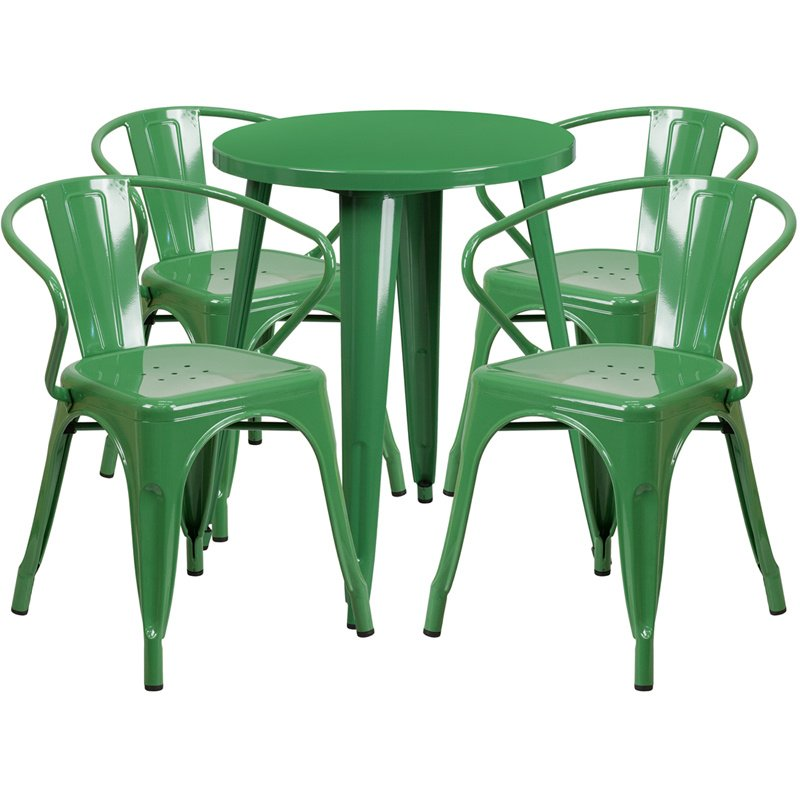 """Flash Furniture 24"""" Round Green Metal Indoor-Outdoor Table Set with 4 Arm Chairs (CH-51080TH-4-18ARM-GN-GG)"""