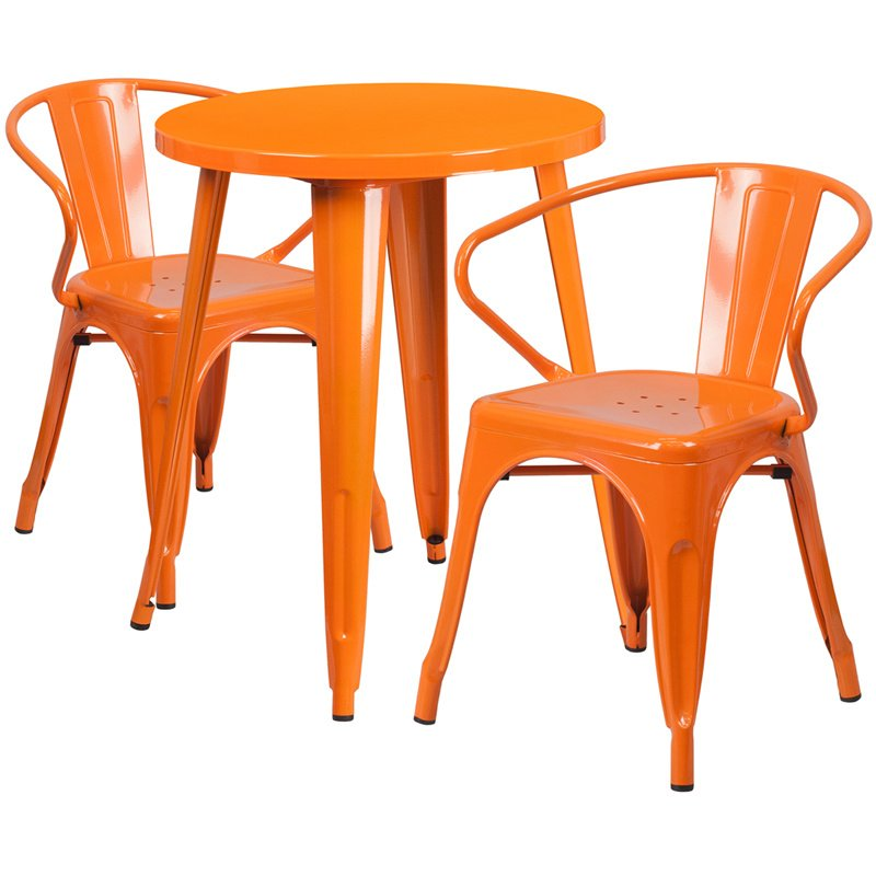 "Flash Furniture 24"" Round Orange Metal Indoor-Outdoor Table Set with 2 Arm Chairs (CH-51080TH-2-18ARM-OR-GG)"