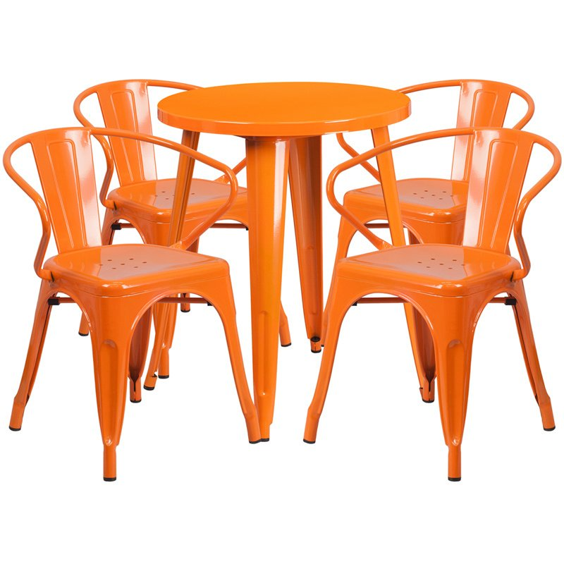 "Flash Furniture 24"" Round Orange Metal Indoor-Outdoor Table Set with 4 Arm Chairs (CH-51080TH-4-18ARM-OR-GG)"