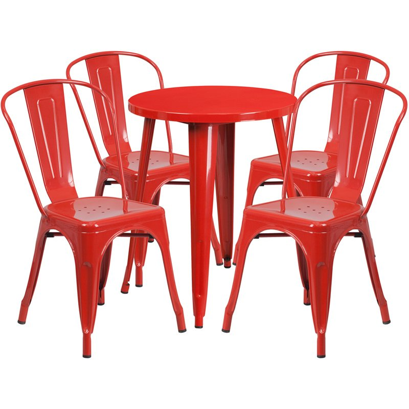 """Flash Furniture 24"""" Round Red Metal Indoor-Outdoor Table Set with 4 Cafe Chairs (CH-51080TH-4-18CAFE-RED-GG)"""