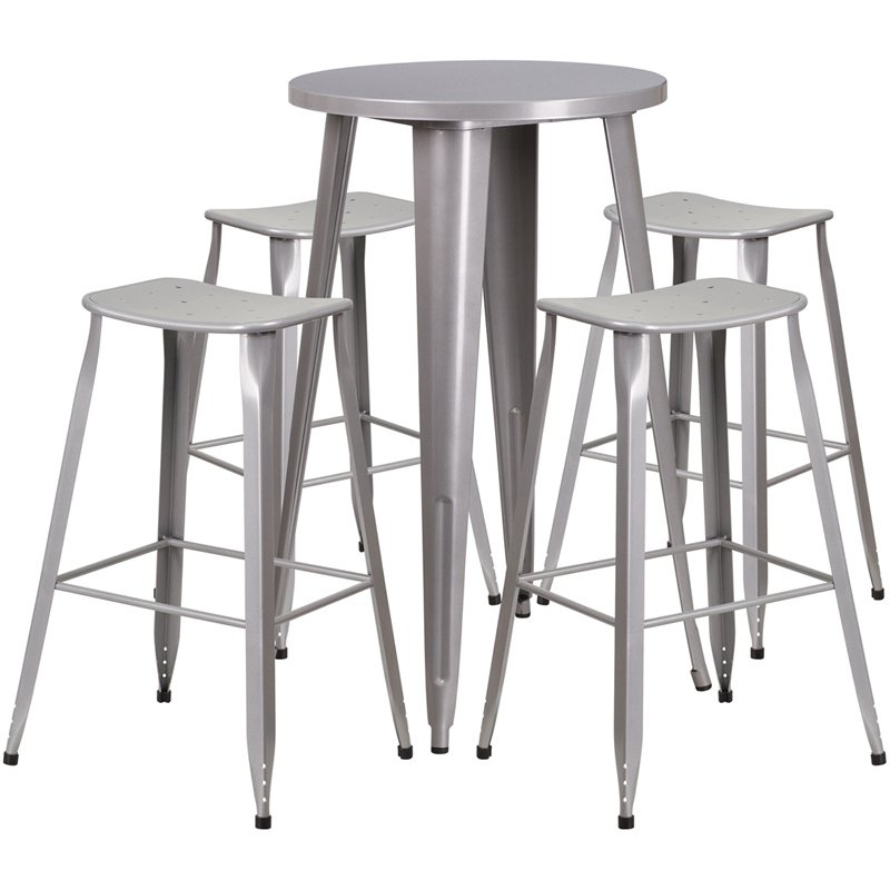 """Flash Furniture 24"""" Round Silver Metal Indoor-Outdoor Bar Table Set with 4 Backless Saddle Seat Barstools (CH-51080BH-4-ET30ST-SIL-GG)"""