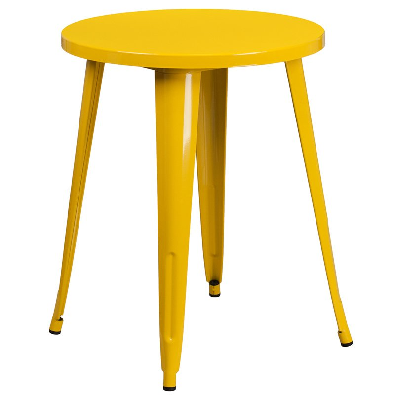 "Flash Furniture 24"" Round Yellow Metal Indoor-Outdoor Table"
