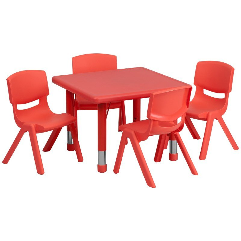 Flash Furniture 24'' Square Adjustable Red Plastic Activity Table Set with 4 School Stack Chairs