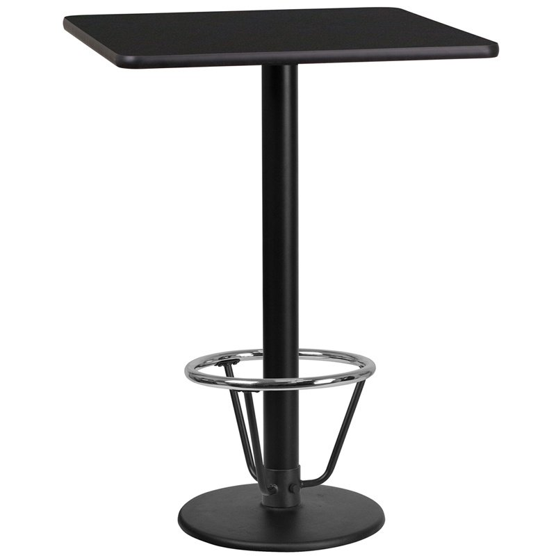 """Flash Furniture 24"""" Square Black Laminate Table Top with 18"""" Round Bar Height Table Base and Foot Ring (XU-BLKTB-2424-TR18B-3CFR-GG)"""