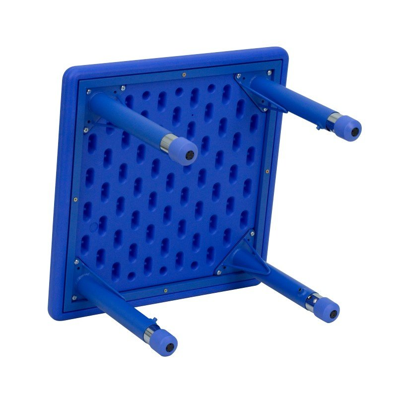 Flash Furniture 24'' Square Height Adjustable Blue Plastic Activity Table