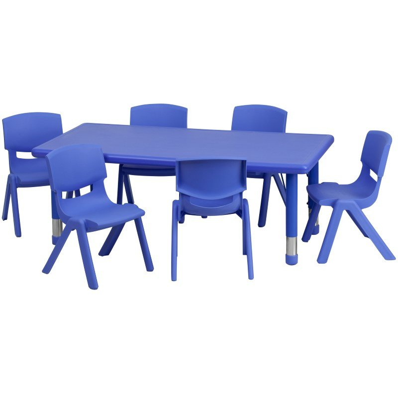 Flash Furniture 24''W x 48''L Adjustable Rectangular Blue Plastic Activity Table Set with 6 School Stack Chairs