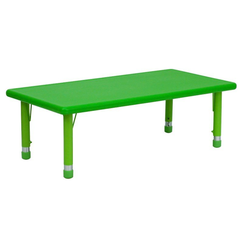 Flash Furniture 24''W x 48''L Height Adjustable Rectangular Green Plastic Activity Table