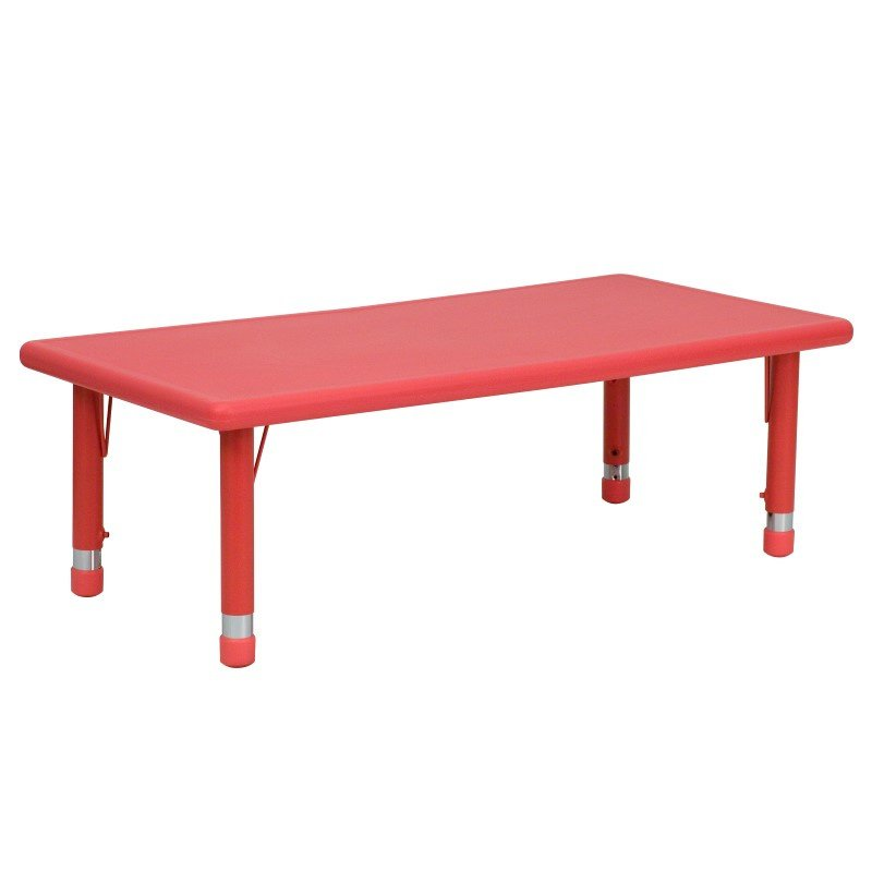 Flash Furniture 24''W x 48''L Height Adjustable Rectangular Red Plastic Activity Table