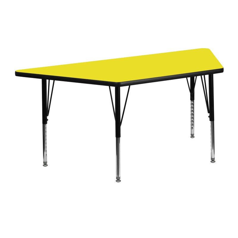 Flash Furniture 24''W x 48''L Trapezoid Activity Table with 1.25'' Thick High Pressure Yellow Laminate Top and Height Adjustable Preschool Legs