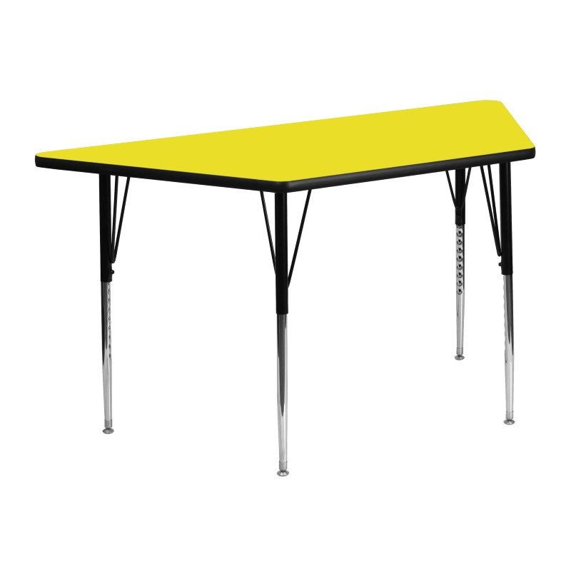 Flash Furniture 24''W x 48''L Trapezoid Activity Table with 1.25'' Thick High Pressure Yellow Laminate Top and Standard Height Adjustable Legs