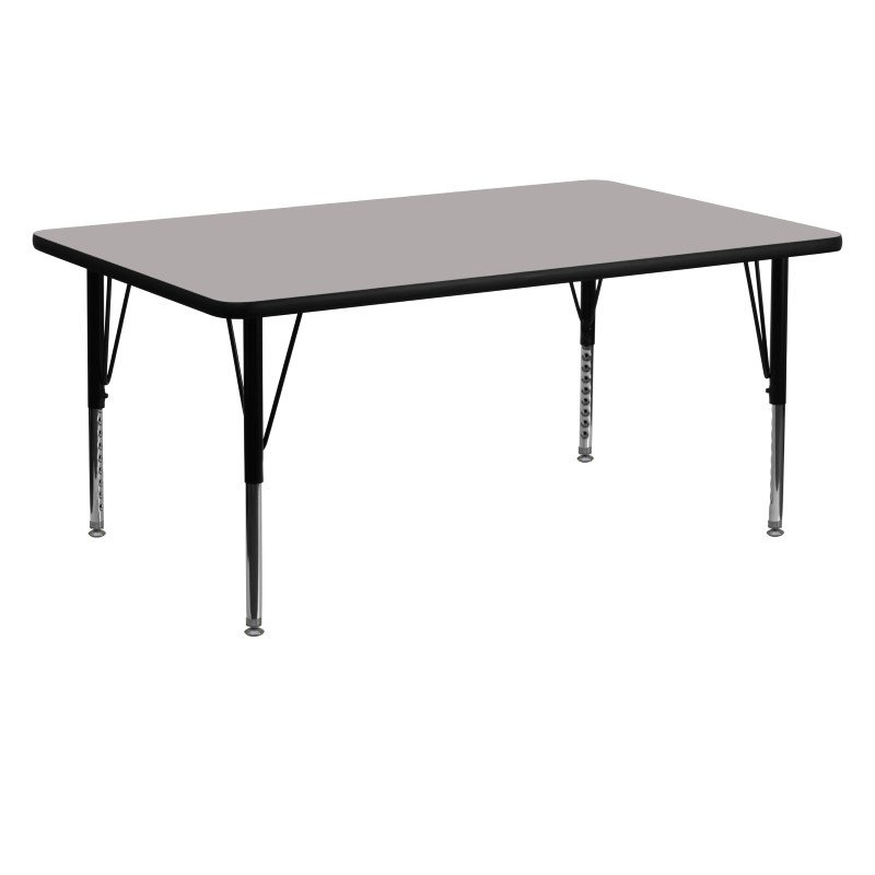 Flash Furniture 24''W x 60''L Rectangular Activity Table with 1.25'' Thick High Pressure Grey Laminate Top and Height Adjustable Preschool Legs