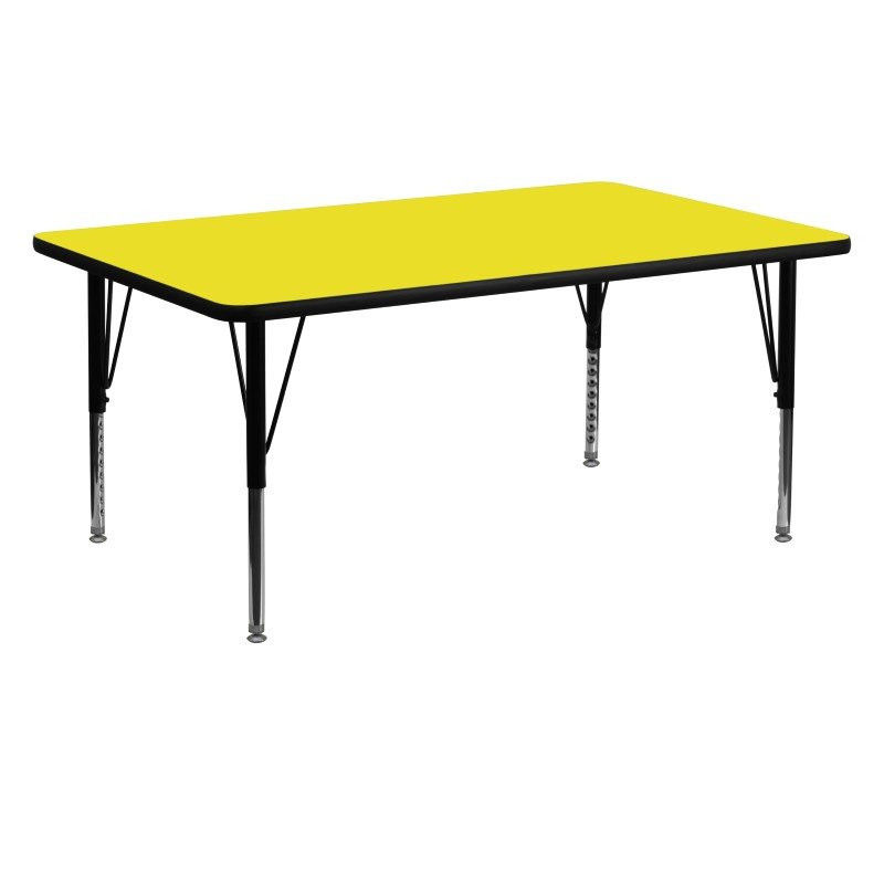 Flash Furniture 24''W x 60''L Rectangular Activity Table with 1.25'' Thick High Pressure Yellow Laminate Top and Height Adjustable Preschool Legs