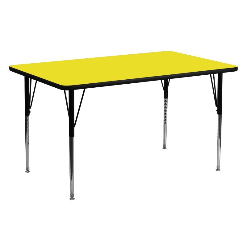 Flash Furniture 24''W x 60''L Rectangular Activity Table with 1.25'' Thick High Pressure Yellow Laminate Top and Standard Height Adjustable Legs