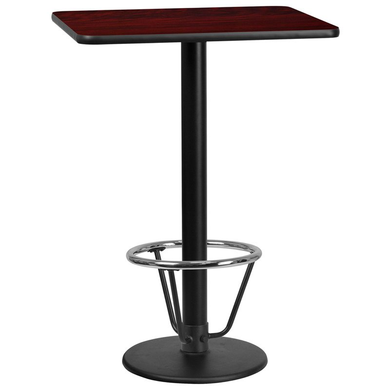 "Flash Furniture 24"" x 30"" Rectangular Mahogany Laminate Table Top with 18"" Round Bar Height Table Base and Foot Ring (XU-MAHTB-2430-TR18B-3CFR-GG)"