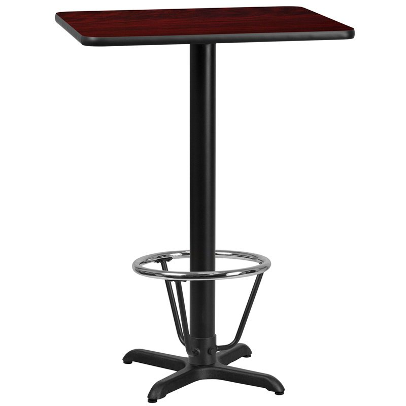 "Flash Furniture 24"" x 30"" Rectangular Mahogany Laminate Table Top with 22"" x 22"" Bar Height Table Base and Foot Ring (XU-MAHTB-2430-T2222B-3CFR-GG)"
