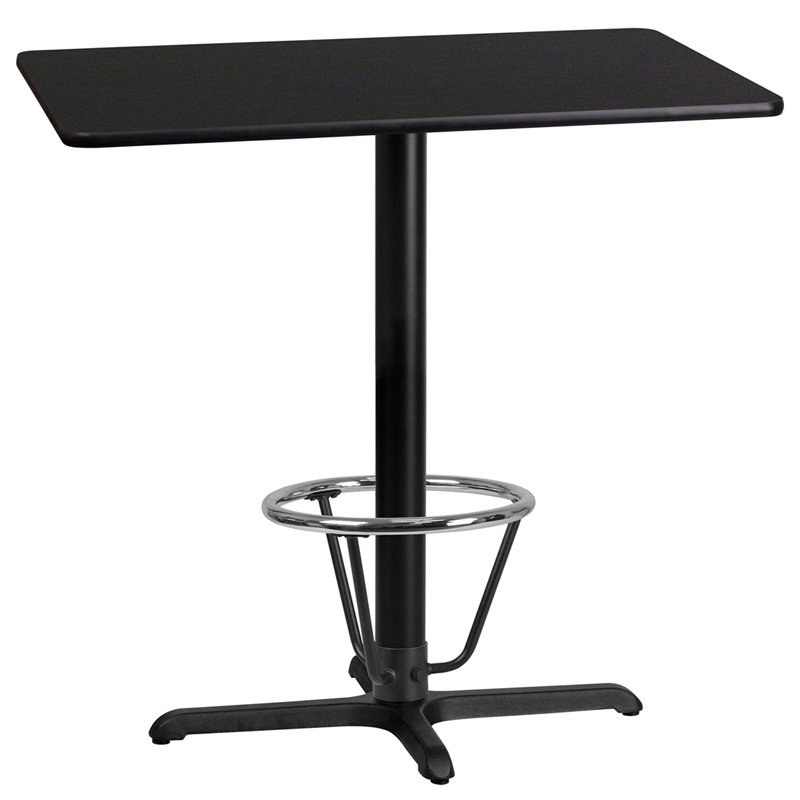 """Flash Furniture 24"""" x 42"""" Rectangular Black Laminate Table Top with 22"""" x 30"""" Bar Height Table Base and Foot Ring (XU-BLKTB-2442-T2230B-3CFR-GG)"""