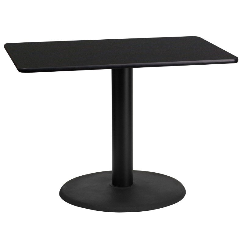 Flash Furniture 24'' x 42'' Rectangular Black Laminate Table Top with 24'' Round Table Height Base