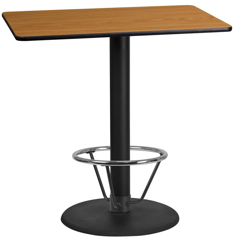 """Flash Furniture 24"""" x 42"""" Rectangular Natural Laminate Table Top with 24"""" Round Bar Height Table Base and Foot Ring (XU-NATTB-2442-TR24B-4CFR-GG)"""