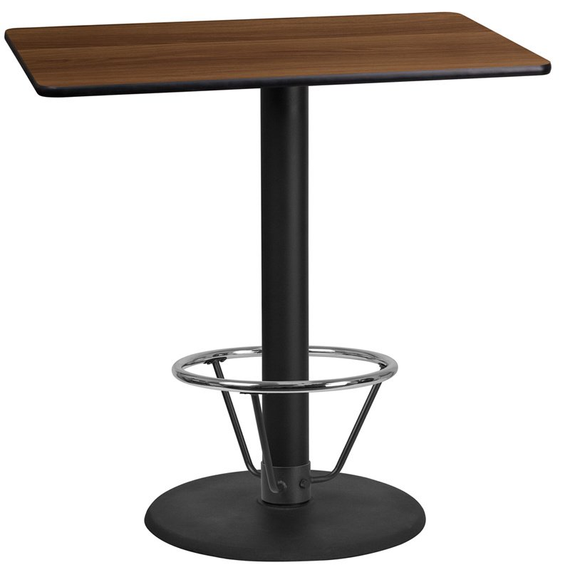 """Flash Furniture 24"""" x 42"""" Rectangular Walnut Laminate Table Top with 24"""" Round Bar Height Table Base and Foot Ring (XU-WALTB-2442-TR24B-4CFR-GG)"""