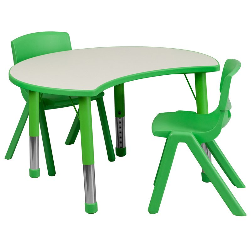 """Flash Furniture 25.125""""W x 35.5""""L Cutout Circle Green Plastic Height Adjustable Activity Table Set with 2 Chairs (YU-YCY-093-0032-CIR-TBL-GREEN-GG)"""