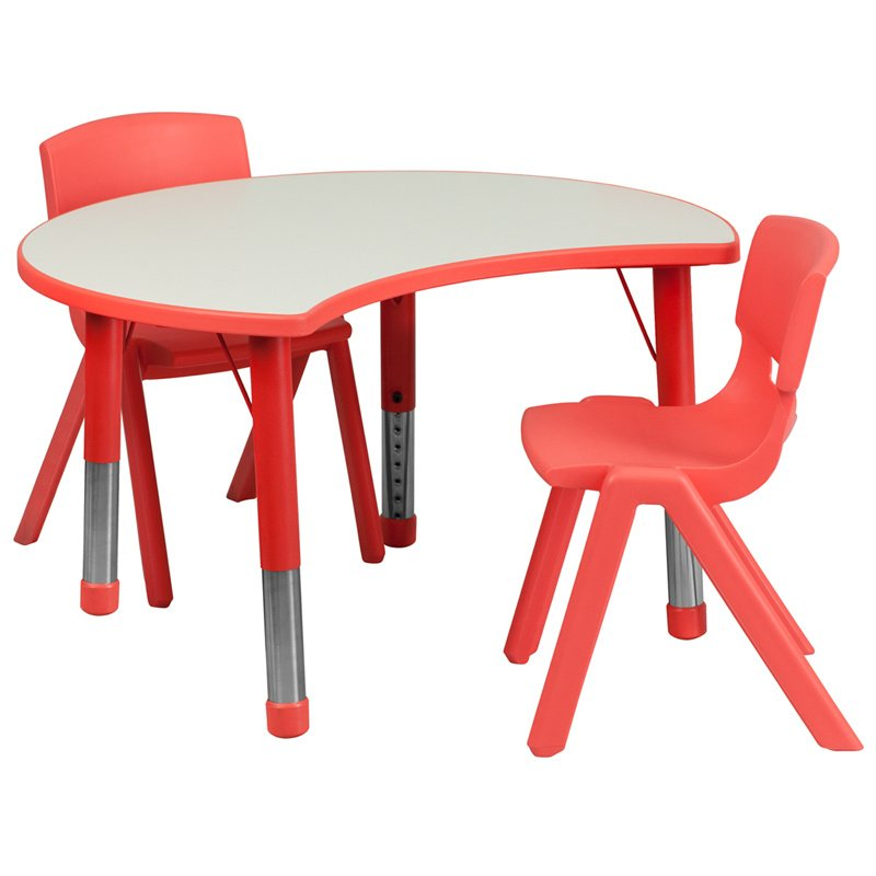 """Flash Furniture 25.125""""W x 35.5""""L Cutout Circle Red Plastic Height Adjustable Activity Table Set with 2 Chairs (YU-YCY-093-0032-CIR-TBL-RED-GG)"""
