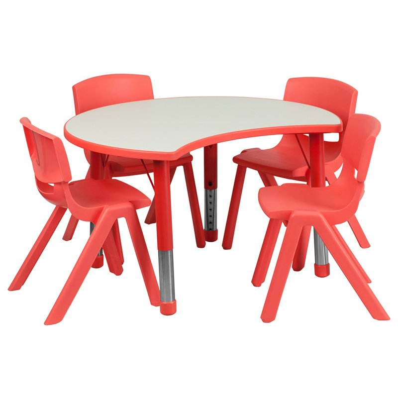 """Flash Furniture 25.125""""W x 35.5""""L Cutout Circle Red Plastic Height Adjustable Activity Table Set with 4 Chairs (YU-YCY-093-0034-CIR-TBL-RED-GG)"""
