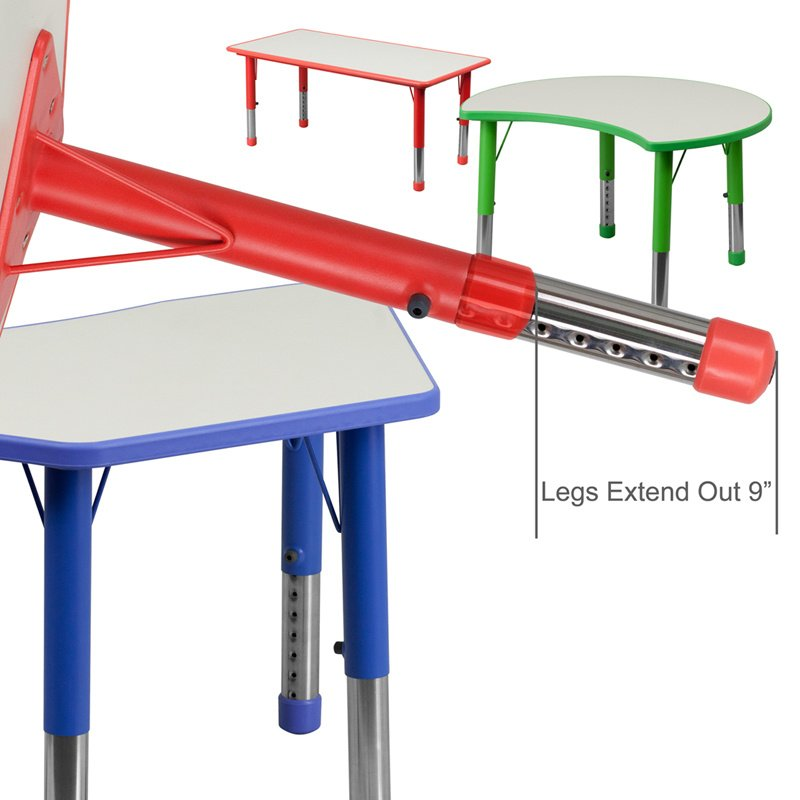 """Flash Furniture 25.125""""W x 35.5""""L Cutout Circle Red Plastic Height Adjustable Activity Table with Grey Top (YU-YCY-093-CIR-TBL-RED-GG)"""