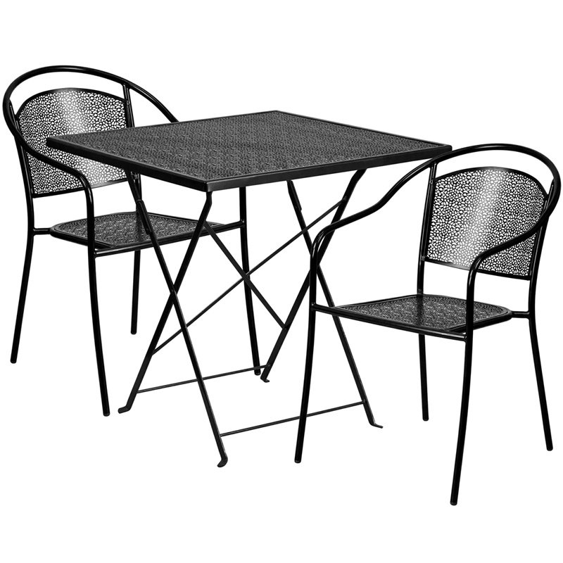 """Flash Furniture 28"""" Square Black Indoor-Outdoor Steel Folding Patio Table Set with 2 Round Back Chairs (CO-28SQF-03CHR2-BK-GG)"""