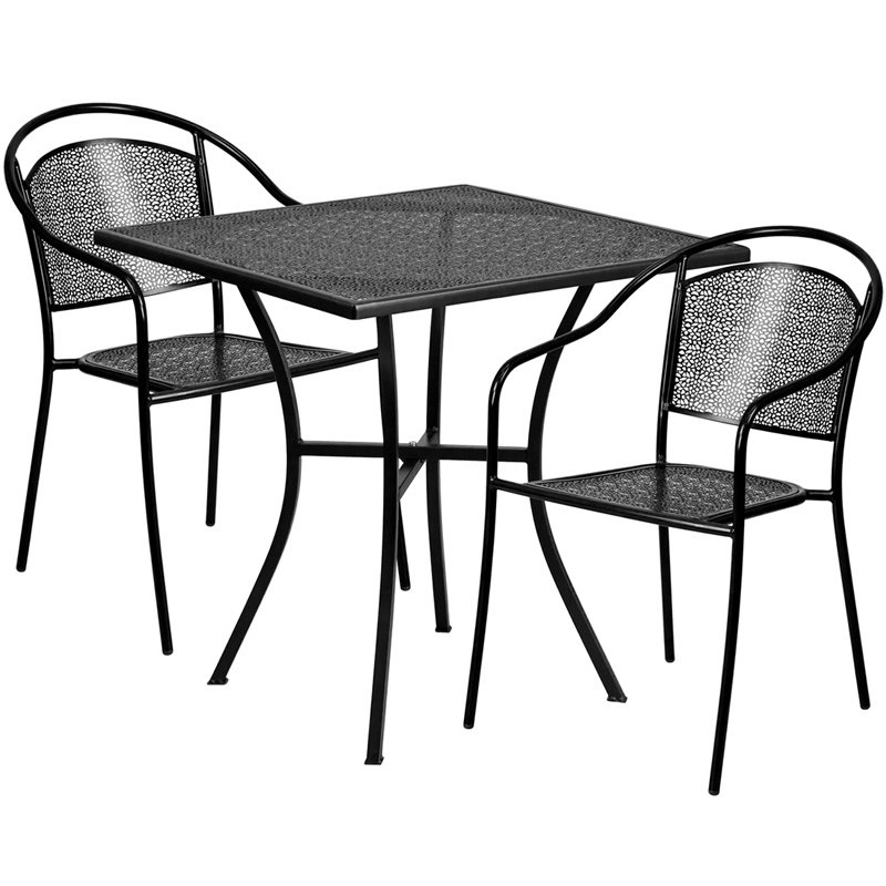 """Flash Furniture 28"""" Square Black Indoor-Outdoor Steel Patio Table Set with 2 Round Back Chairs (CO-28SQ-03CHR2-BK-GG)"""