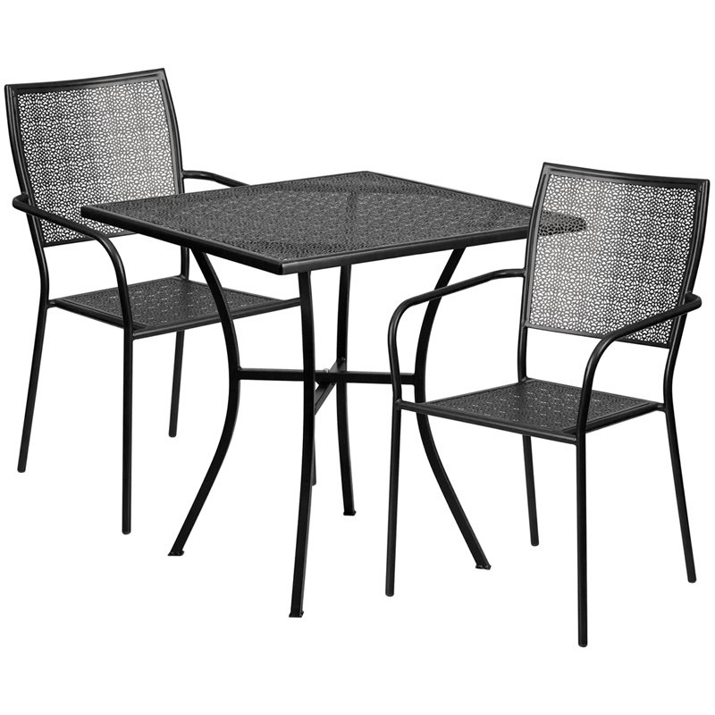 "Flash Furniture 28"" Square Black Indoor-Outdoor Steel Patio Table Set with 2 Square Back Chairs (CO-28SQ-02CHR2-BK-GG)"