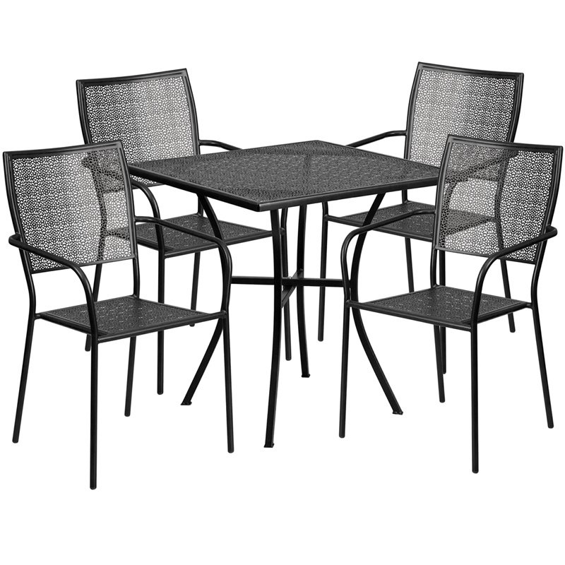 "Flash Furniture 28"" Square Black Indoor-Outdoor Steel Patio Table Set with 4 Square Back Chairs (CO-28SQ-02CHR4-BK-GG)"