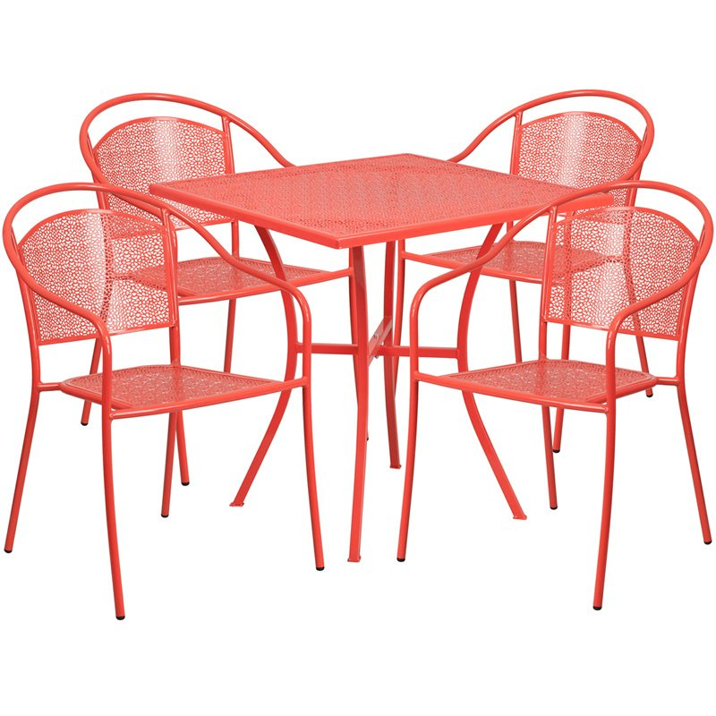 """Flash Furniture 28"""" Square Coral Indoor-Outdoor Steel Patio Table Set with 4 Round Back Chairs"""