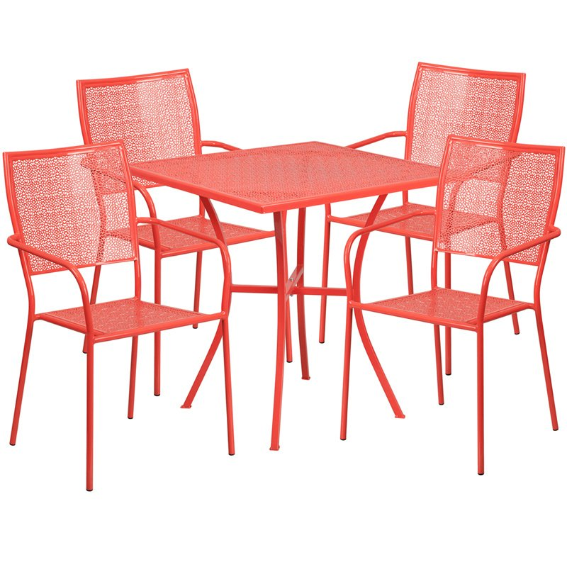 "Flash Furniture 28"" Square Coral Indoor-Outdoor Steel Patio Table Set with 4 Square Back Chairs"