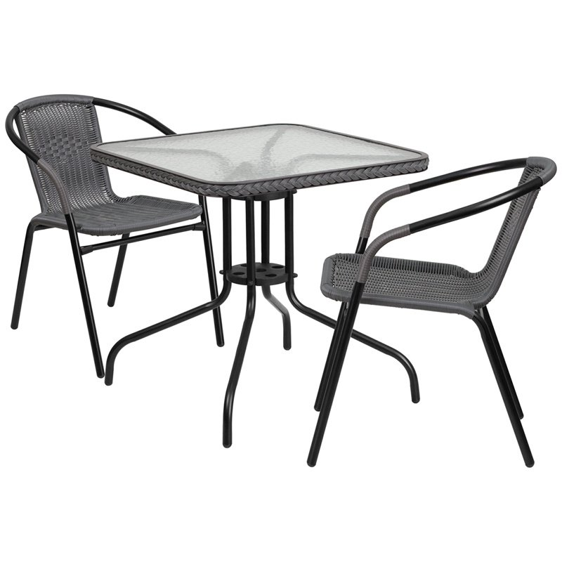 "Flash Furniture 28"" Square Glass Metal Table with Gray Rattan Edging and 2 Gray Rattan Stack Chairs (TLH-073SQ-037GY2-GG)"