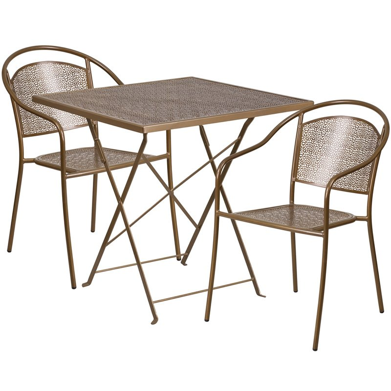 """Flash Furniture 28"""" Square Gold Indoor-Outdoor Steel Folding Patio Table Set with 2 Round Back Chairs"""